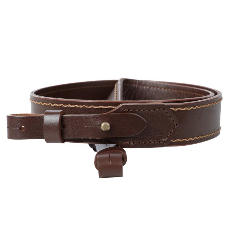 Ремень бесшумный кожаный двухслойный коричневый1